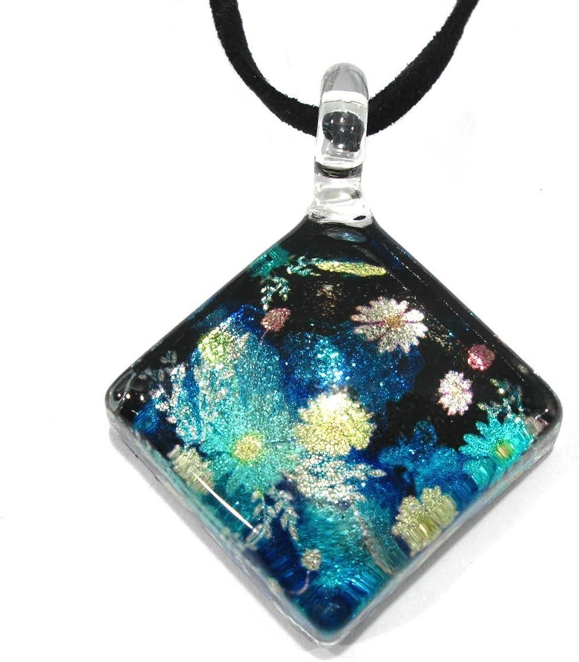Handmade Square Glass Pendant Glass Blown Necklace Jewelry - No.1
