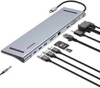 Baseus Enjoyment Series Type-C Notebook HUB Adapter (GrayPD / HDMI / VGA / RJ45 / SD / USB*3 / Adapter ) Gray
