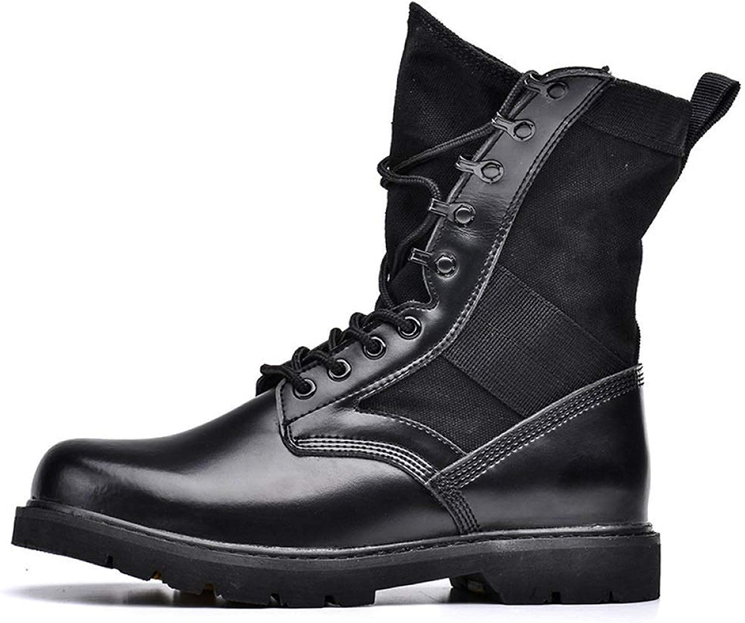 HWG-GAOYZ shoes Men's Martin Boots Ankle Footwear Autumn Winter Outdoor Desert Military Leather Boots Non-slip Breathable,Black-39
