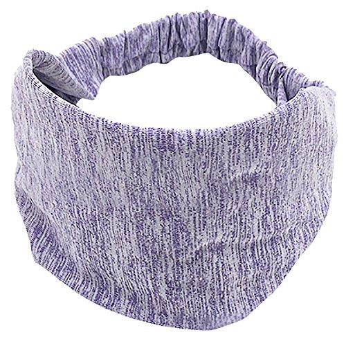 Stirnband Yoga, Stück Bunte Sport Stirnband Monochrome Elastische Haarband Yoga Running Headband Damen Herren Bequemes Schweißband weichem Bambus-Material dehnbar modisch (One Size, Z1-Lila)