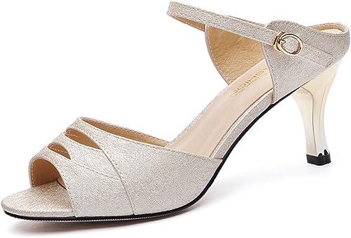 HAIZHEN schuhe de damen schuhe de damen PU Spring Sandals High Heel para Casual Gold Gold Para damenes (Farbe   Beige, Tamaño   EU40 UK6.5 CN41)