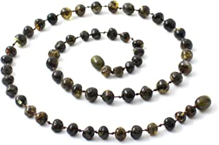 TipTopEco Baltic Amber Necklace for Adults (Women and Men) - 17.5 Inches Long - Polished Beads