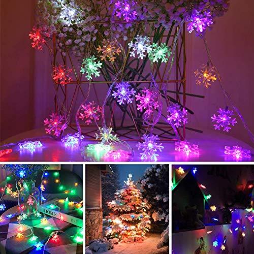 LED Lichterkette Schneeflocken - 6M 40 LED, HIBOER Weihnachten Usb Schneeflocke Lichterketten Warmweiß, Wasserdicht Beleuchtung Stimmungslichter für Garten Weihnachtsbaum Innen Außen