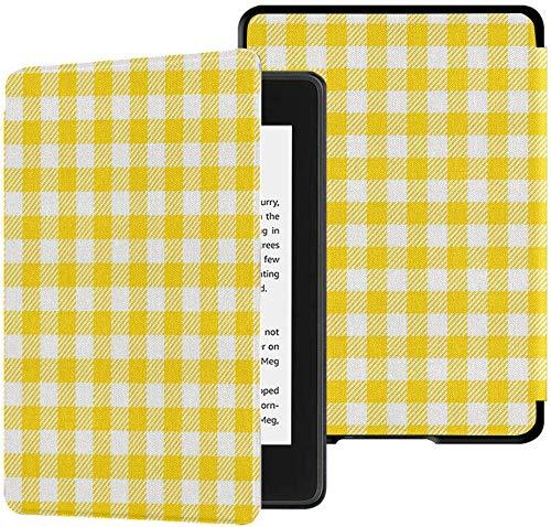 Gloednieuwe Kindle Paperwhite waterbestendige stoffen hoes (10e generatie, release 2018), oranje geruite tafelkleden Patronen Vector tablethoes