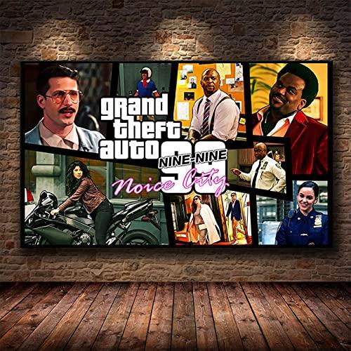 Yiwuyishi Grand Auto Theft V GTA 5 Póster de Lienzo con impresión artística Cuadros de Pared para la decoración de la Sala de Estar Dormitorio en casa Decoración de la Pared...