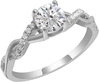 Ginger Lyne Collection Queena Bridal Wedding Engagement Ring for Women Sterling Silver Twist Vine Setting with 1 Carat Cubic Zirconia Engagement Black Tie Series Jewelry