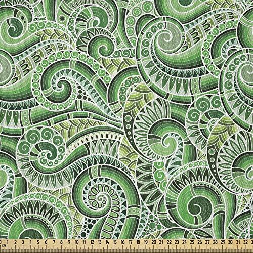 ABAKUHAUS Asiático Tela por Metro, Diseño Clásico Espirales Garabato Ilustración Floral Contorno Mehndi Estilo Retro, Microfibra Decorativa para Artes y Manualidades, 1M (230x100cm), Negro