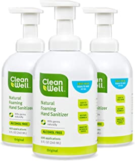 CleanWell Botanical Antibacterial Foaming Hand Sanitizer with Pump - Original Scent, 8 Ounces (Pack of 3) - plant-based, alcohol-free, kid friendly, kills germs botanically, Biodegradable Solution