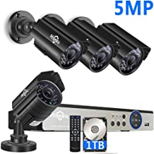 Hiseeu【5MP 8CH】 H.265+ Security Camera System,4Pcs FHD AHD Cameras+8Channel DVR,Free Phone&PC Remote,Human Detect Alert,98Ft Night Vision,IP66 Waterproof,24/7 Recording,Easy Setup,Plug & Play,1TB HDD