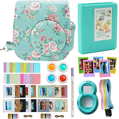 Alohallo Instax Mini 9/8/ 8+ Accessories for FujiFilm Instax Mini 8/ Mini 8+/ Mini 9 Instant Film Camera with Camera Case/Lens/Mini Album/Color Frame/Sticker/Strap/Pens/Filter(Rose)