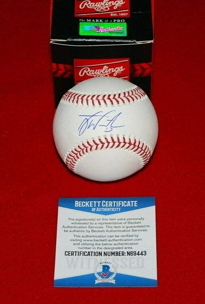 TYLER WHITE Los Super Special SALE held Angeles Dodgers beckett signed baseball MLB witn Sales results No. 1