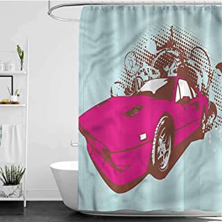 SKDSArts Shower Curtains for Bathroom Small Old Car Cartoon Style,W65 INCH x L72 INCH with Beaded Rings