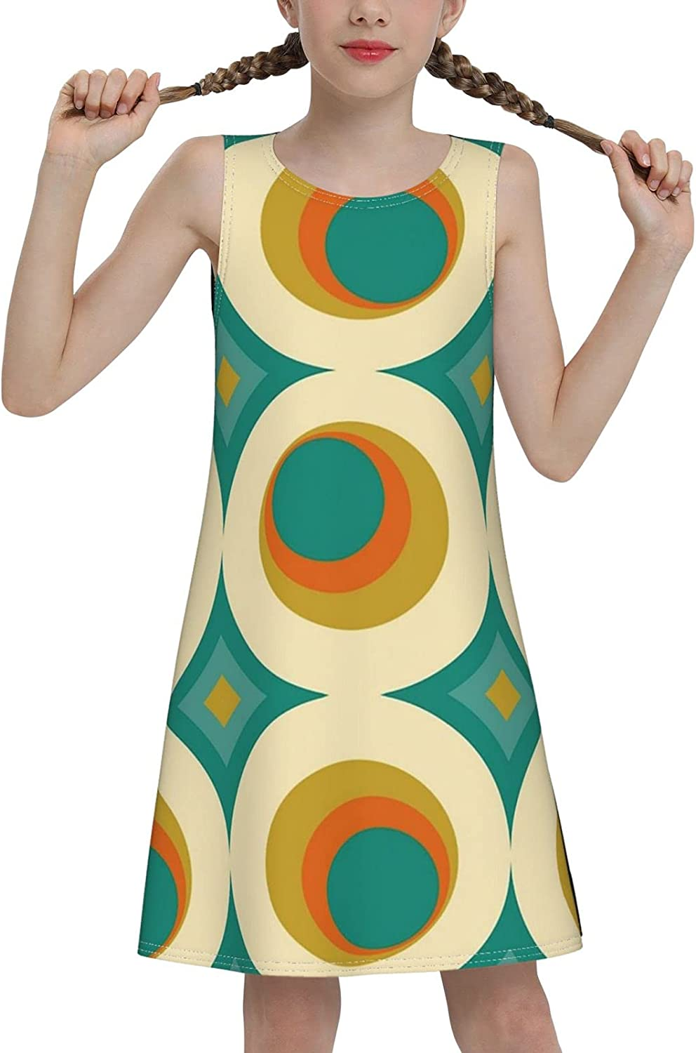 brillianting Girls Print Sleeveless Dress, Casual Party, 7-16 Years Old