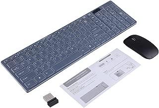 Kit Tastiera e Mouse Wireless Optical 2.4GHz Ultra-sottile Tastiera senza Fili con Ricevitore Combo del USB per PC Computer ( Colore : Nero )