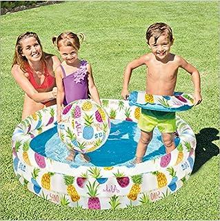 حمام سباحة قابل للنفخ في الهواء الطلق من شركة إنتكس، مع حلقة سباحة على شكل كرة بحرية للأطفال والبالغين