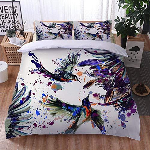 Set De Funda Nórdica Plumas de pájaro pintadas 3D-trapunta de polialgodón Estampado, Funda Nórdica y Fundas de Almohada de algodón 140cm x 200cm