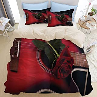 TARTINY Beige Duvet Cover Set, Red and Black Spanish Musician Portugal Handmade Theme Guitar with Romantic Theme Love Rose Pattern, Decorative 3 Piece Bedding Set with 2 Pillow Shams