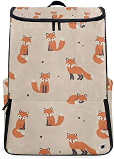 Cute Polka Dot Cartoon Foxes Gym Backpack with Shoe Compartment Travel Bag Casual Vintage Daypacks