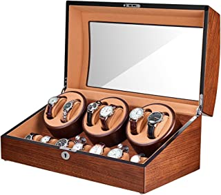 JQUEEN Automatic Watch Winder with Quiet Motor, Six Winding Spaces 7 Storages Spaces