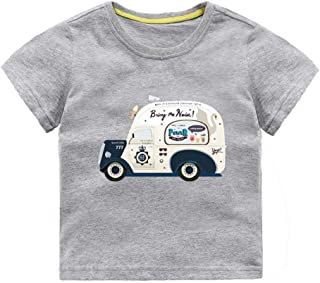 Mornyray Infant Kids Summer Casual Playwear Short Sleeve Cotton Tee With Adorable Little Ice Cream Truck Printing Design Fashion Wild Boys Sport Bottoming Tee(3-8T)