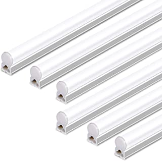 Hykolity Integrated LED T5 Single Light Fixture, 4FT, 22W, 2200lm, 5000K, Linkable LED Shop Light Ceiling Tube, Corded Electric with Built-in ON/Off Switch (6 Pack)