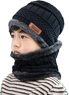 Kids Winter Hat and Scarf Set, 2Pcs Warm Knit Beanie Cap...