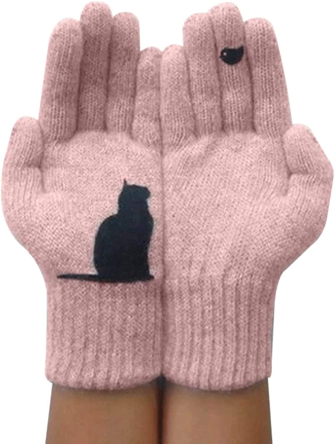 MSKJ Cat Gloves for Women Woolen Gloves Autumn Winter Outdoor Warm Cold Protection Padded Cat Printed Gloves