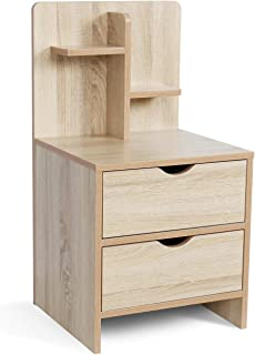 Nightstands Wooden Sofa Beside Table with Storage Shelf and 2 Drawers, Cabinet End Table Side Table for Bedroom Livingroom - White