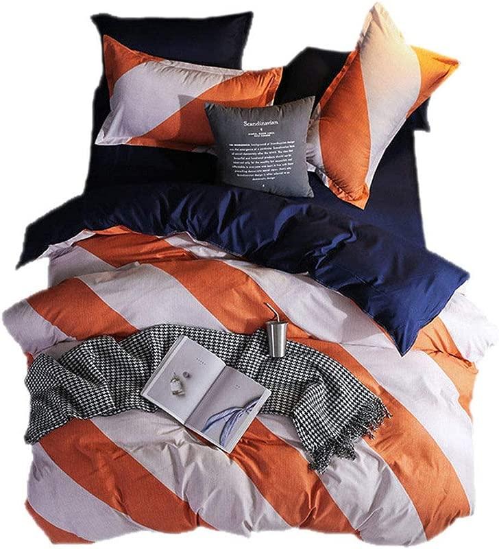Beddingwish 3Pcs Orange And White Geometric Stripe Pattern Duvet Cover No Comforter Breathable Reversible Polyester Bedding Set Full Queen For Girls And Kids Orange White Navy Blue