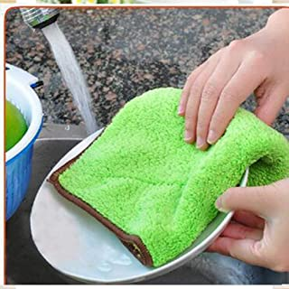 Shinzeun 効率的なアンチグリースディッシュクロス両面マイクロファイバー洗濯タオルマジックキッチンクリーニングワイピングラグ
