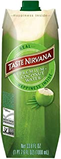 Taste Nirvana Real Coconut Water, Premium Coconut Water, 33.8 Ounce (Pack Of 6)