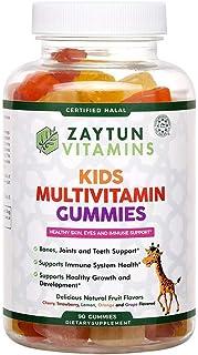 Zaytun Vitamins Halal Kids Multivitamin Gummies, Naturally Sourced Vitamin A, C, D, E, B6, B12, Supports Healthy Growth, N...