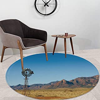 Windmill Decor Bath Round Mat,Flinders Ranges South Australia Mountains Barren Land Summer Decorative for Dining Room Bathroom Office,47.24