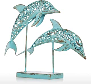 YZDSBD Statues Figurines Sculptures Metal Iron Sculpture Two Blue Dolphins Iron Handmade Statue Design Statue Retro Ornament Marine Life Home Decoration
