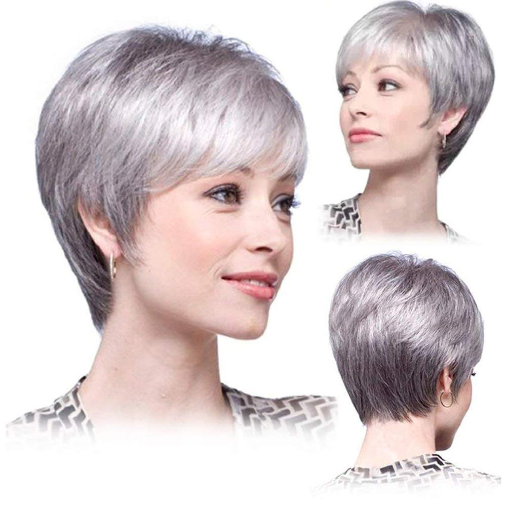 Royalfirst Wigs For Women Short Hair Gray White Mixed Color Natural Hair Wigs Free Wig Cap New Buy Online In China At Desertcart