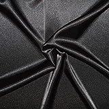 Scampolo di tessuto raso, 3 metri, tessuto di raso fluido poliestere/elastan, di ottima qualità, tessuto per abiti, gonne, tunica (nero)