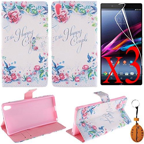 Traitonline ® película protectora + llavero + Flip PU estuche de cuero para Sony Xperia Z2 funda caso Stand diseño tarjeta tapa