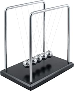 Carejoy Newton's Cradle, Newton's Cradle Balance Balls with Metal Balance Ball and Black Wooden Base accompany Your Child's Grown-Up
