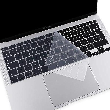 MOSISO Cubierta de Teclado Compatible con MacBook Air 13 2020 A2337 M1 A2179 con Touch ID, Mágico Retroiluminado Skin Piel de Silicona Protectora ...