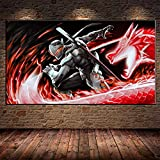 Avdgfr HD Printed on Canvas-[Game Poster Genji VS Hanzo R] Canvas Prints Large-Art Print Images Realised as Wall Picture on Real 60X80cm Frameless