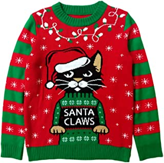 Santa Claws Cat Ugly Christmas Sweater Gift for Boy Girl 6yr - 12y Kids Sweater