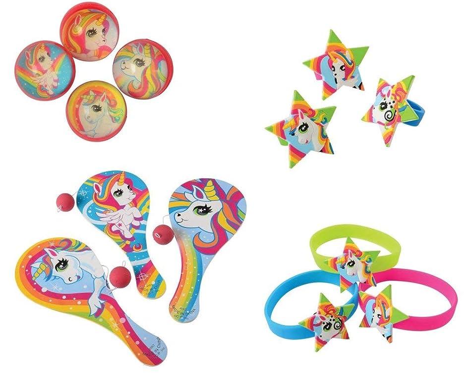 Unicorn Toy Party Favor Supplies 48 Piece Set for 12 Bundle Rings Bracelets Paddleballs Bounce Balls