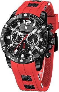 Relojes Hombre SAPPHERO Cronógrafo Multifunción Relojes para Hombres Correa De Silicona 3ATM Impermeable Movimiento De Cua...
