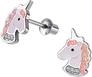 Unicorn Stud Hypoallergenic Earrings Pink Purple with Secure Screwback for Kids, Toddlers, Little Girls, Baby Girls, Stainless Steel Ultra Sensitive Screw Back Post Earrings