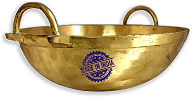Heribay Brass/Pital (8 Inch) Deep Flat Heavy Bottom Kadhai/Woks (1 LTR.) Without Lid