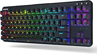 Fnatic miniSTREAK - LED Backlit RGB Mechanical Gaming Keyboard - Cherry MX Silent Red Switches - Small Compact Portable Tenkeyless Layout - Ergonomic Wrist Rest - Pro Esports Gaming Keyboard