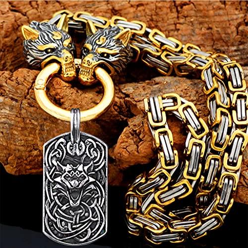 2021 New Hombres 316L Acero Inoxidable Viking Wolf Head Pendant, Fenrir Amulet Jewelry, Personalidad Rey Cadena Collar + Bolsa De Regalo,Oro,70CM