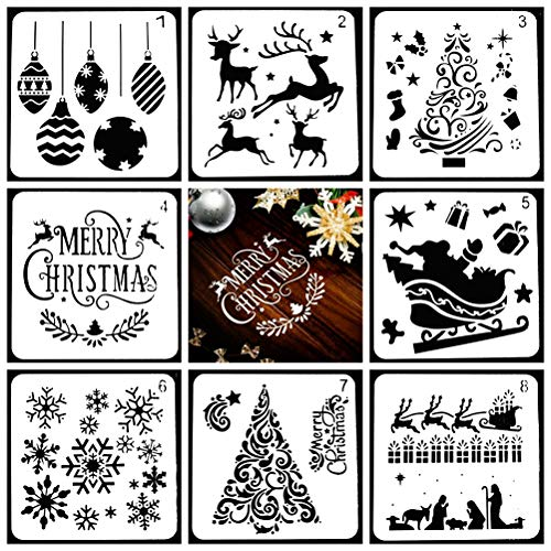 Schablonen Weihnachten 8 Stück Weihnachten Schablonen Set Vorlage Wiederverwendbare Kunststoff Handwerk Malschablonen Zum Malen Zeichnen Sprühen Tagebuch Vorlage Und Wände Kunst Weihnachtskarte DIY