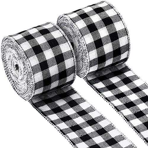 2 Rolls Buffalo Plaid Burlap Wired Ribbon Weave Ribbon with Wired Edge for Christmas Crafts Floral Bows Craft Decoration, 2.4 Inches by 315 Inches (Black and White Plaid)