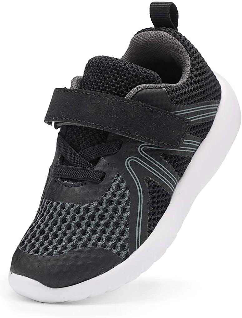 DADAWEN Boys Girls Sneakers Kids Lightweight Breathable Strap Athletic Running Shoes